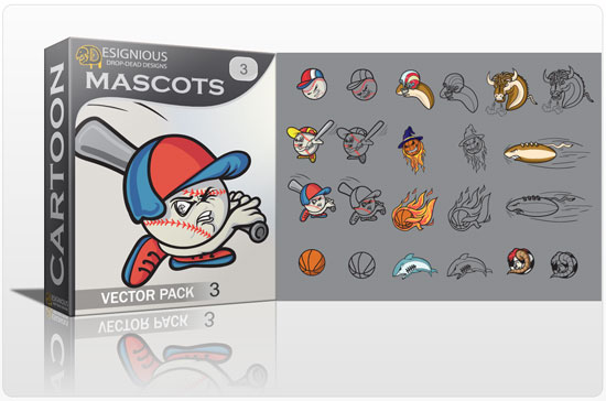 Mascots vector pack 3 products mascots3