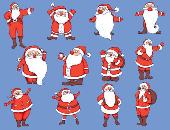 Christmas vector pack 7 santa products santa christmass 7