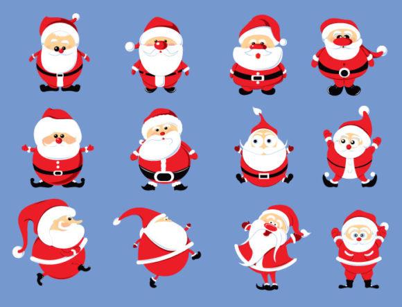Christmas vector pack 9 santa Holidays winter