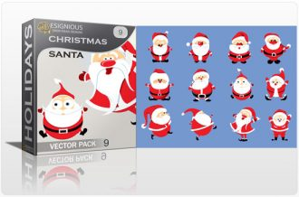 Christmas vector pack 9 santa Holidays winter