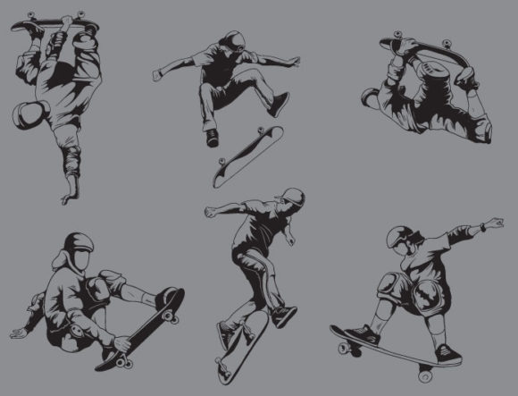 Sports skaters vector pack products skateboarders