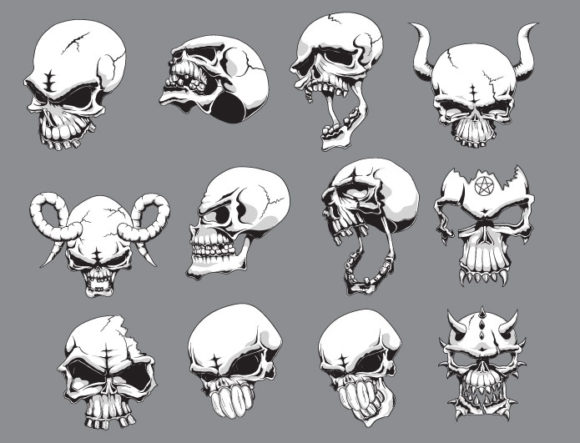 Skulls vector pack 18 products skeletons18