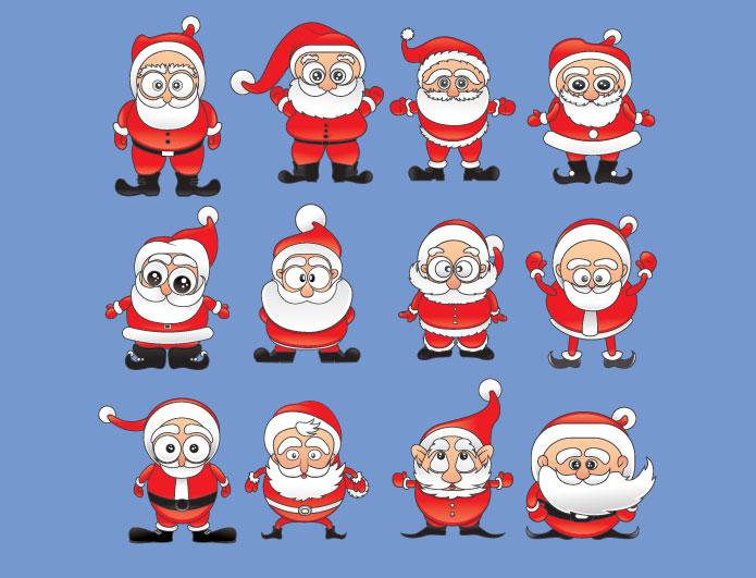 Christmas vector pack 8 santa Holidays winter
