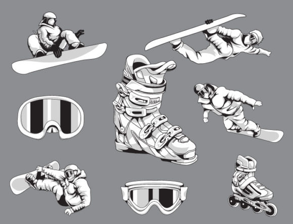 Sports winter vector pack 1 products snowboards