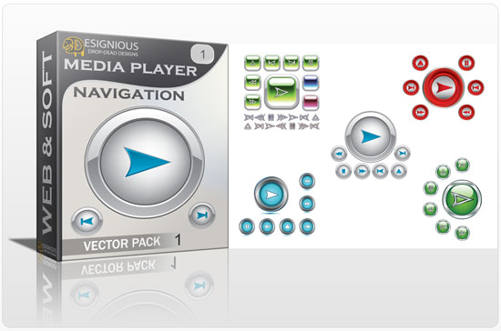 Media player navigation vector pack 1 Web and soft [tag]