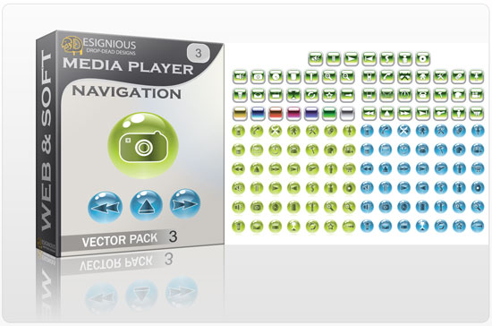 Media player navigation vector pack 3 Web and soft [tag]