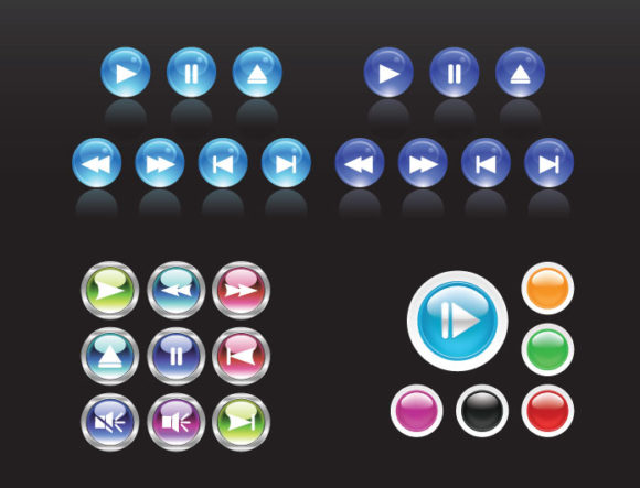 Media player navigation vector pack 2 Web and soft [tag]