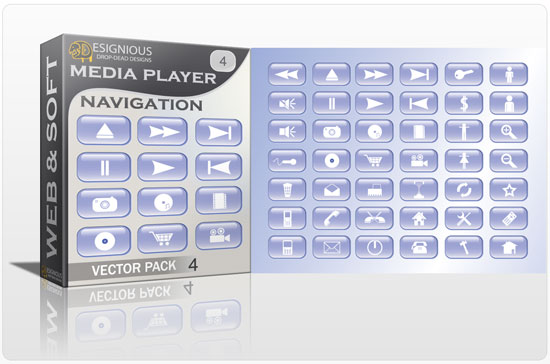 Media player navigation vector pack 4 Web and soft [tag]