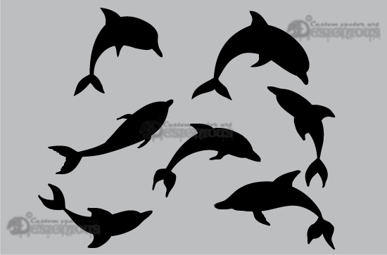 Sea creatures vector pack products 1 dolphins vectors