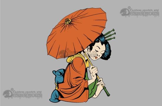 Geisha vector pack Japanese Art female