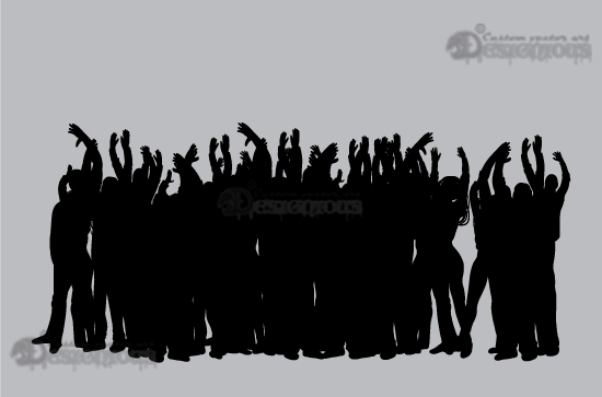 Concert silhouettes vector pack products 1 vector concert crowd people