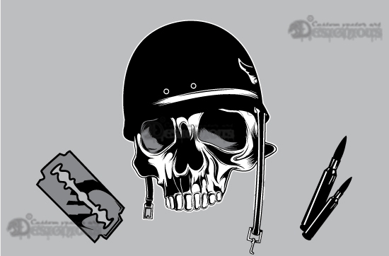 Skull vector pack 14 products 14 vector dead soldier skull with razor blades and rifle ammo