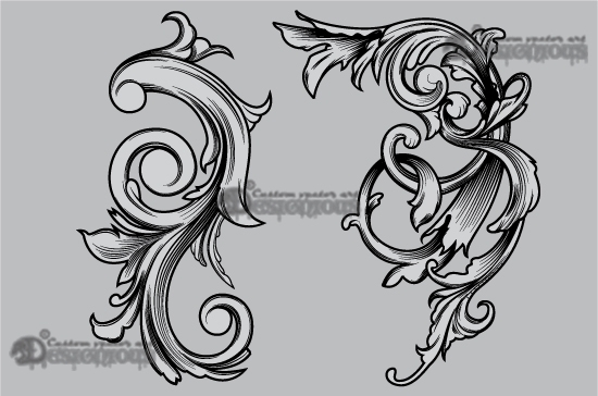 Floral vector pack 49 products 49 vector engraved corner 1