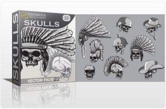 Skulls Vector Pack 22 Skulls indian