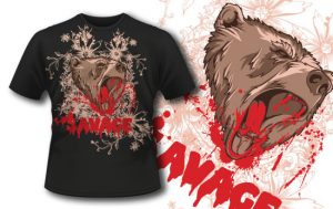 T-shirt design 290 – Rampaging Bear T-shirt designs and templates vector