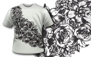 T-shirt design 292 – Detailed Flowers Ribbon T-shirt designs and templates urban