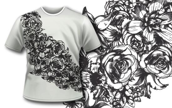 T-shirt design 292 – Detailed Flowers Ribbon T-shirt Designs and Templates urban