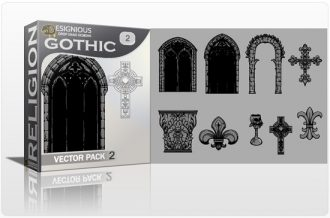 Gothic Vector Pack 2  – Architectural elements Religion [tag]
