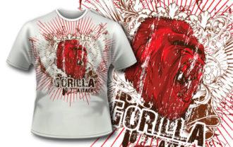 T-shirt design 297 – Gorilla T-shirt Designs and Templates vector