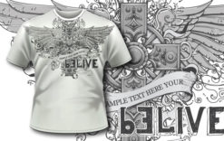 T-shirt design 303 – Cross and wings T-shirt designs and templates vector