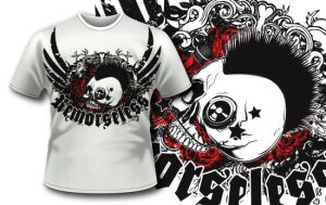 T-shirt design 306 – Punk Skull and Roses T-shirt designs and templates vector