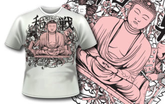 T-shirt design 308 – Buddha T-shirt Designs and Templates vector