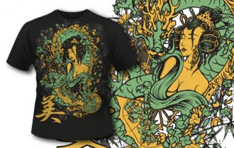 T-shirt design 313 – Geisha and Dragon T-shirt Designs and Templates vector