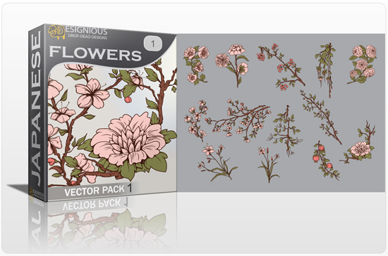 Japanese Flowers Vector Pack 1 products japanese flowers pack preview 1