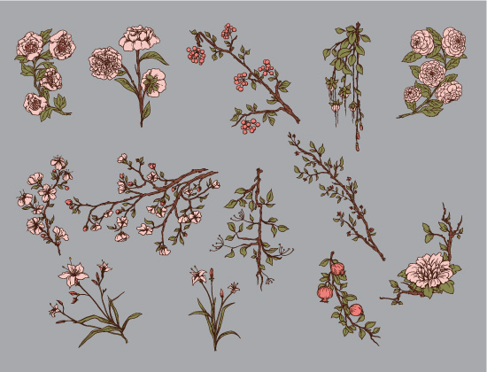 Japanese Flowers Vector Pack 1 products japanese flowers pack preview 3
