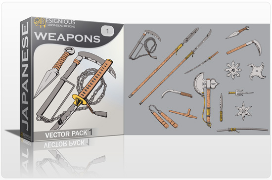 Japanese Weapons Vector Pack 1 products japanese weapons pack preview 1