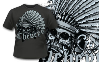 T-shirt design 315 – Skull with Headdress T-shirt Designs and Templates vector