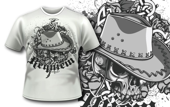 T-shirt design 317 – Skull with cowboy hat T-shirt Designs and Templates vector