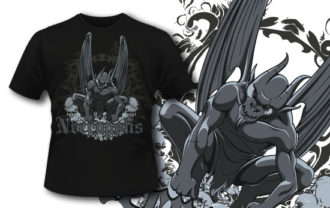 T-shirt design 318 – Gargoyle on Skulls T-shirt Designs and Templates vector