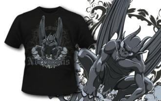 T-shirt design 318 – Gargoyle on Skulls T-shirt Designs and Templates vector