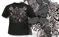 T-shirt design 319 – Ninja and Wings T-shirt designs and templates vector