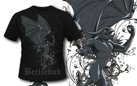 T-shirt design 324 – Rising Gargoyle T-shirt Designs and Templates vector