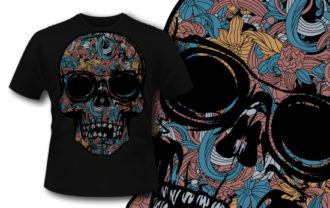 T-shirt design 328 – Colorful skull T-shirt Designs and Templates vector