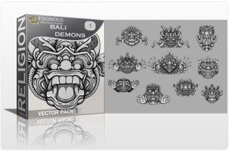 Bali Demons Vector Pack 1 Religion vector cutter plotter ready