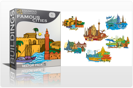 Famous Cities Vector Pack 1 Buildings [tag]