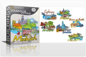 Famous Cities Vector Pack 10 Buildings beach