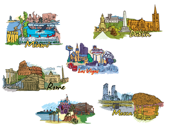 Famous Cities Vector Pack 3 Buildings [tag]