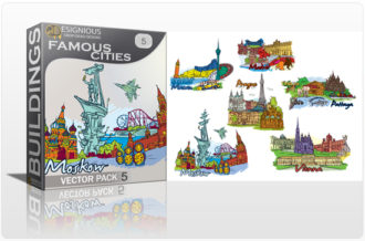 Famous Cities Vector Pack 5 Buildings [tag]