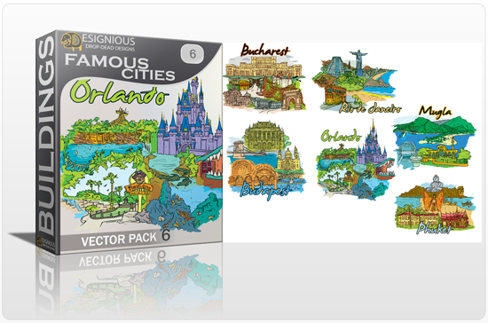 Famous Cities Vector Pack 6 Buildings [tag]
