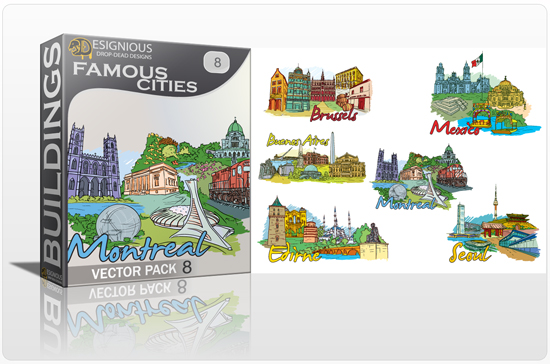 Famous Cities Vector Pack 8 Buildings [tag]