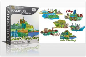 """Famous Cities Vector Pack 9 Buildings """"long"""