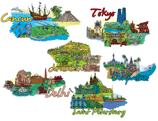 "Famous Cities Vector Pack 9 Buildings ""long"