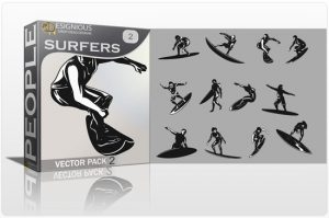Surfers Vector Pack 2 People summer