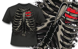 T-shirt design 333 – Ribcage and Heart T-shirt Designs and Templates vector