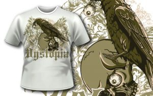 T-shirt design 334 – Raven and Skull T-shirt designs and templates vector