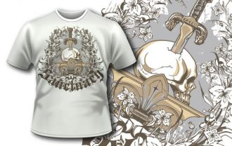 T-shirt design 338 – Skull and Sword on Pedestal T-shirt Designs and Templates vector